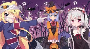 Rating: Safe Score: 40 Tags: aqua_eyes bandage blonde_hair blush bow cent-001 crossover gochuumon_wa_usagi_desu_ka? gray_hair halloween hat headdress horns kafuu_chino kiniro_mosaic kujou_karen long_hair pink_eyes pumpkin purple_eyes sophie_twilight tonari_no_kyuuketsuki-san wings wink witch_hat User: RyuZU