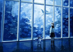 Rating: Safe Score: 39 Tags: animal blue fish kneehighs nomiya_(no_38) original school_uniform short_hair skirt teddy_bear water User: Flandre93