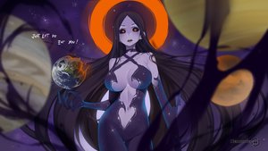 Rating: Safe Score: 3 Tags: anthropomorphism black_hair black_hole-chan bodysuit breasts earth halo keiryuu_seo long_hair navel orange_eyes original planet powehi-chan space stars watermark User: otaku_emmy