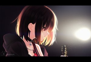 Rating: Safe Score: 129 Tags: bang_dream! brown_hair choker close guitar hoodie instrument mitake_ran necklace red_eyes short_hair the_cold watermark User: Dreista