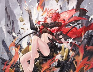 Rating: Safe Score: 59 Tags: akabane_(synthv) atdan barefoot cape cropped elbow_gloves feathers fire gloves red_eyes red_hair ruins scarf short_hair shorts synthesizer_v weapon User: otaku_emmy