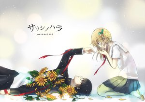 Rating: Safe Score: 47 Tags: black_hair blonde_hair blue_eyes flowers ribbons seifuku snow tagme User: w7382001