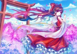 Rating: Safe Score: 36 Tags: bow hakurei_reimu japanese_clothes long_hair miko petals qin red_eyes torii touhou User: RyuZU