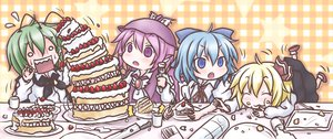 Rating: Safe Score: 45 Tags: cake chibi cirno mystia_lorelei rumia takanoru touhou wriggle_nightbug User: Dust