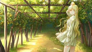 Rating: Safe Score: 25 Tags: blonde_hair dress food fruit gonzz_(gon2rix) grass leaves long_hair original scenic shade tree wink yellow_eyes User: BattlequeenYume