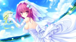 Rating: Safe Score: 63 Tags: bow clouds flowers game_cg headdress kujiragami_no_tearstilla landscape mikagami_mamizu narumi_marine pink_eyes pink_hair ribbons scenic sideboob sky water wedding_attire whirlpool User: kowarenai