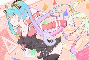 Rating: Safe Score: 58 Tags: aqua_eyes aqua_hair blush hatsune_miku long_hair panties striped_panties tagme_(artist) tattoo thighhighs twintails underwear vocaloid User: RyuZU