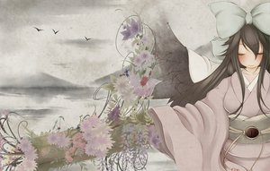 Rating: Safe Score: 37 Tags: black_hair blush flowers gray japanese_clothes kimono long_hair reiuji_utsuho shochiku_umeko touhou wings User: HawthorneKitty