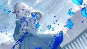 Rating: Safe Score: 103 Tags: blue_eyes butterfly clouds dress lolita_fashion long_hair original oyuyu polychromatic sky User: BattlequeenYume