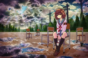 Rating: Safe Score: 82 Tags: clouds ribbons sakashima_yumewo scenic school_uniform short_hair sky suzumiya_haruhi suzumiya_haruhi_no_yuutsu uniform User: STORM