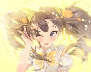 Rating: Safe Score: 148 Tags: blue_eyes blush bow brown_hair close ddal long_hair original twintails wink User: Flandre93