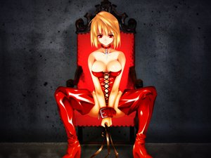 Rating: Questionable Score: 95 Tags: arcueid_brunestud bondage boots cleavage collar corset cross cuffs gothic orange_hair red_eyes shingetsutan_tsukihime short_hair thighhighs User: jjjjjhhhhh