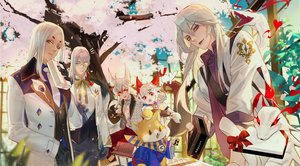 Rating: Safe Score: 9 Tags: aerysky all_male animal bell cherry_blossoms dog flowers glasses gray_hair group long_hair male onmyouji petals pink_eyes red_eyes short_hair tree yellow_eyes User: RyuZU