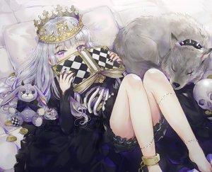 Rating: Safe Score: 198 Tags: animal book bunny chain crown dangmill dress gray_hair halloween long_hair original purple_eyes shackles skull waifu2x wolf User: luckyluna