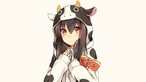 Rating: Safe Score: 243 Tags: brown_hair cowgirl food hiiragi_hajime hoodie orange_eyes original white User: Hakha