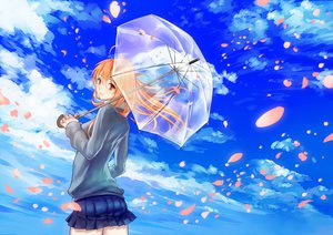 Rating: Safe Score: 82 Tags: blonde_hair brown_eyes clouds long_hair original petals sky tamachi_kuwa umbrella User: opai