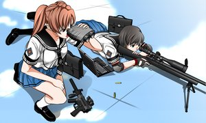 Rating: Safe Score: 63 Tags: black_hair brown_hair computer gun original seifuku weapon User: HawthorneKitty