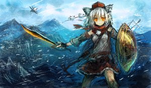 Rating: Safe Score: 125 Tags: aircraft animal_ears hat inubashiri_momiji lm7_(op-center) scarf short_hair snow sword tagme touhou weapon white_hair User: opai