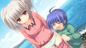 Rating: Questionable Score: 23 Tags: game_cg gray_hair kona_nako nishimata_aoi orange_eyes panties sekai_seifuku_kanojo striped_panties underwear User: oranganeh