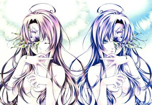 Rating: Safe Score: 59 Tags: blue_eyes breasts flowers long_hair mogami_rio original pink_hair purple_hair User: Tensa
