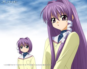 Rating: Safe Score: 12 Tags: 2girls blue_eyes calendar clannad fujibayashi_kyou fujibayashi_ryou long_hair purple_eyes purple_hair school_uniform sugimura_tomokazu twins vector User: Oyashiro-sama