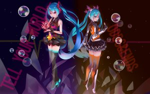 Rating: Safe Score: 66 Tags: baka_no_e blue_eyes blue_hair bubbles hatsune_miku long_hair odds_&_ends_(vocaloid) purple_eyes skirt tell_your_world_(vocaloid) thighhighs twintails vocaloid wristwear User: gnarf1975