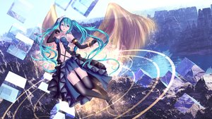 Rating: Safe Score: 20 Tags: aliasing aqua_eyes aqua_hair breasts dress elbow_gloves gloves hatsune_miku long_hair navel thighhighs twintails vocaloid water wings yusuke User: luckyluna