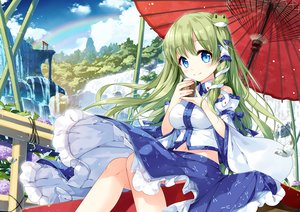 Rating: Safe Score: 44 Tags: aqua_eyes bow clouds drink flowers green_hair japanese_clothes kochiya_sanae landscape long_hair miko miyase_mahiro navel rainbow ribbons scenic skirt sky torii touhou tree umbrella water waterfall User: BattlequeenYume