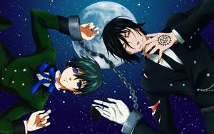 Rating: Safe Score: 20 Tags: black_hair blue_eyes ciel_phantomhive kuroshitsuji moon red_eyes sebastian_michaelis User: Hopey