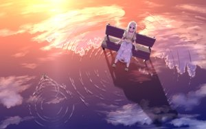 Rating: Safe Score: 84 Tags: animal blonde_hair blue_eyes clouds dress frog long_hair original scenic sunset syego water wings User: FormX