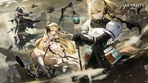 Rating: Safe Score: 57 Tags: animal animal_ears arknights armor bird blonde_hair boots building flowerchorus gloves gray_hair green_eyes headphones horns logo long_hair nearl_(arknights) nightingale_(arknights) ponytail ribbons silence_(arknights) staff tail yellow_eyes User: Nepcoheart