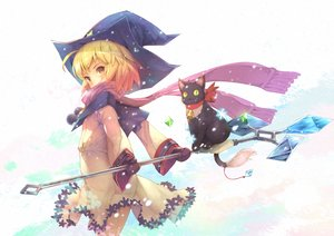 Rating: Safe Score: 52 Tags: animal bell blonde_hair blush cat fantasy_earth_zero gloves hat ryouku scarf short_hair snow staff witch witch_hat yellow_eyes User: BattlequeenYume