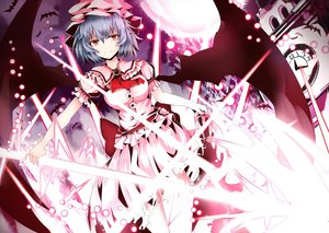 Rating: Safe Score: 86 Tags: breasts chiruru96 dress hat night remilia_scarlet sword tagme touhou vampire weapon wings User: Shinigami-Seed
