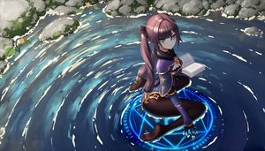 Rating: Safe Score: 86 Tags: book genshin_impact gloves green_eyes long_hair magic mona_(genshin_impact) twintails user_rsvk4825 water User: BattlequeenYume