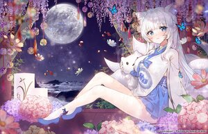 Rating: Safe Score: 87 Tags: animal_ears applecaramel_(acaramel) blue_eyes breasts butterfly cleavage doll flowers foxgirl long_hair moon multiple_tails original tail white_hair User: BattlequeenYume
