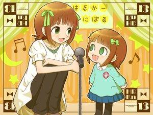 Rating: Safe Score: 26 Tags: 2girls amami_haruka bow brown_hair green_eyes hiboshi_daizu idolmaster loli nonowa ribbons short_hair User: C4R10Z123GT