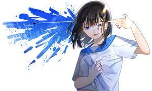 Rating: Safe Score: 44 Tags: aircraft black_hair blue_eyes clouds kinako_95 original school_uniform short_hair sky User: FormX