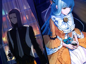 Rating: Safe Score: 11 Tags: aqua_hair bicolored_eyes braids dark drink emilie_du_chatelet game_cg kome lolita_fashion long_hair louis-charles male night ourai_no_gahkthun tie User: Emily_Cheshire
