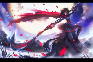 Rating: Safe Score: 175 Tags: boots brown_eyes brown_hair cape clouds cross inoi moon night pantyhose petals ruby_rose rwby scythe short_hair signed skirt sky stars weapon User: STORM