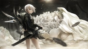 Rating: Safe Score: 23 Tags: building city demon feathers horns hyp original pointed_ears short_hair shorts sword weapon white_hair User: BattlequeenYume
