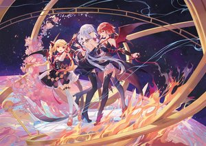 Rating: Safe Score: 90 Tags: blonde_hair bow criin_(659503) dress flowers long_hair orange_eyes red_eyes red_hair ribbons short_hair sky stars tagme_(character) thighhighs twintails vocaloid white_hair wings xingchen User: BattlequeenYume