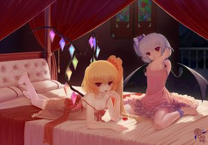 Rating: Safe Score: 74 Tags: 2girls bed blonde_hair dress flandre_scarlet red_eyes remilia_scarlet touhou vampire wings zimajiang User: opai