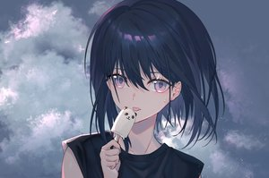 Rating: Safe Score: 36 Tags: black_hair close clouds food haizome_senri ice_cream original popsicle purple_eyes short_hair User: BattlequeenYume