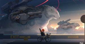 Rating: Safe Score: 85 Tags: animal bear bicycle clouds fom_(lifotai) gun instrument long_hair orange_hair original seifuku skirt sky thighhighs twintails weapon User: RyuZU