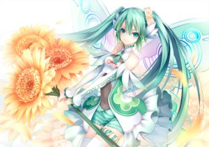 Rating: Safe Score: 33 Tags: ajigo aqua_eyes breasts flowers green_hair hatsune_miku long_hair shorts sunflower thighhighs tie twintails vocaloid wings User: RyuZU