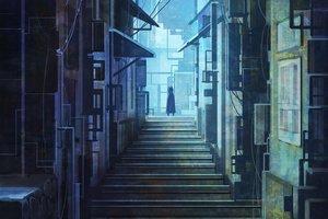 Rating: Safe Score: 21 Tags: building city hoodie original polychromatic scenic shi_yu stairs User: RyuZU