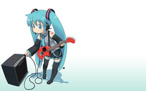 Rating: Safe Score: 61 Tags: guitar hatsune_miku headphones instrument nagian parody vocaloid white User: Cacha