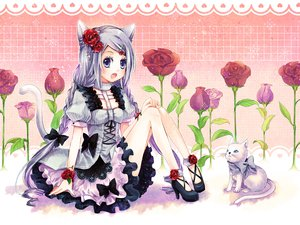 Rating: Safe Score: 73 Tags: animal animal_ears bow braids cat catgirl dress fang flowers momoko_(momoko14) original rose tail User: FormX