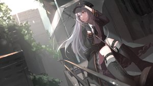 Rating: Safe Score: 53 Tags: boots building city gloves gray_hair hat long_hair oekaki_taro purple_eyes ruins tie umbrella uniform User: BattlequeenYume