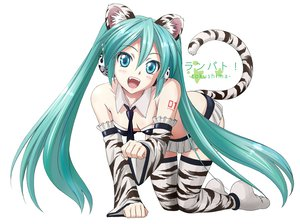 Rating: Safe Score: 301 Tags: animal_ears aqua_hair catgirl hatsune_miku tail tie twintails vocaloid white zoneflower User: HawthorneKitty